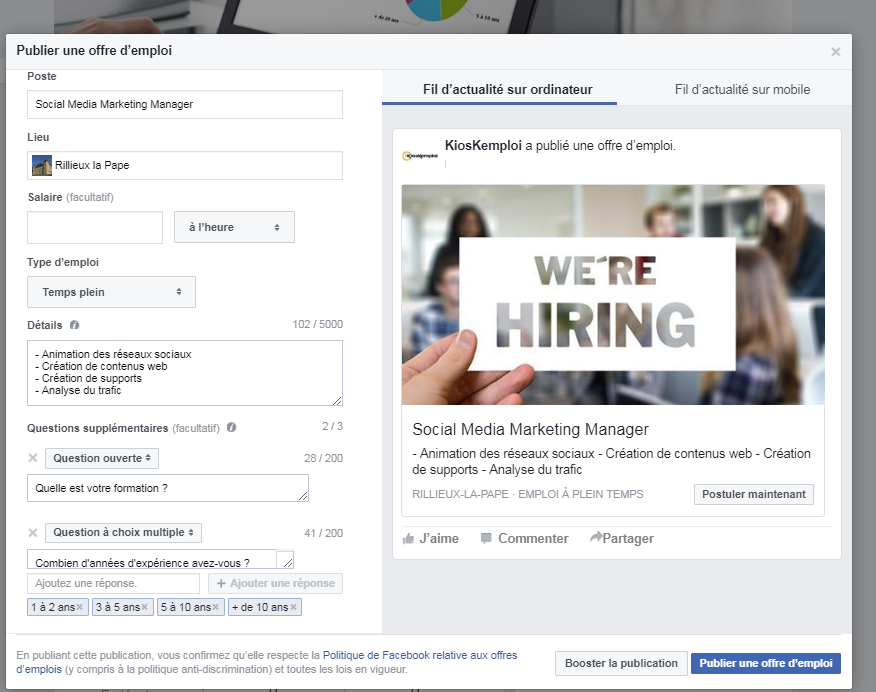 exemple offre facebook jobs